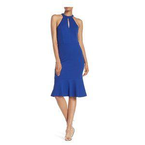 Bebe Cobalt Blue Halter Keyhole Flutter Dress